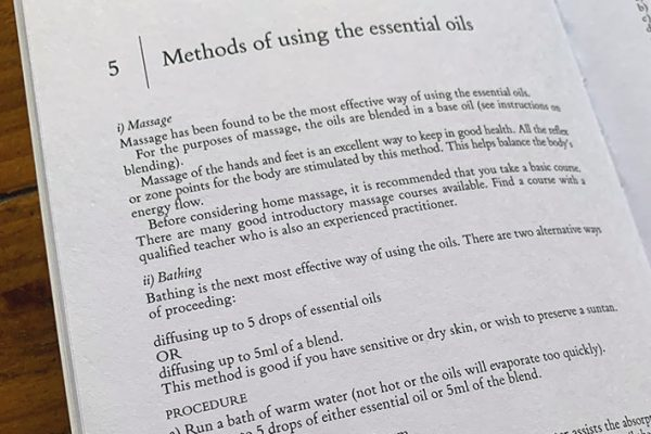 Inside page of a book, methods of using essential oils
