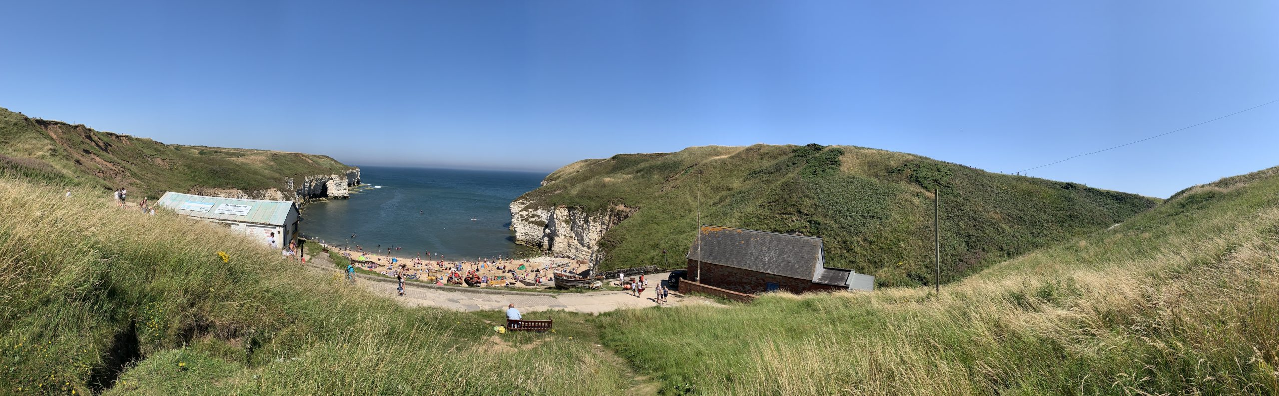Flamborough Cliffs showing beach and sea in Yorkshire