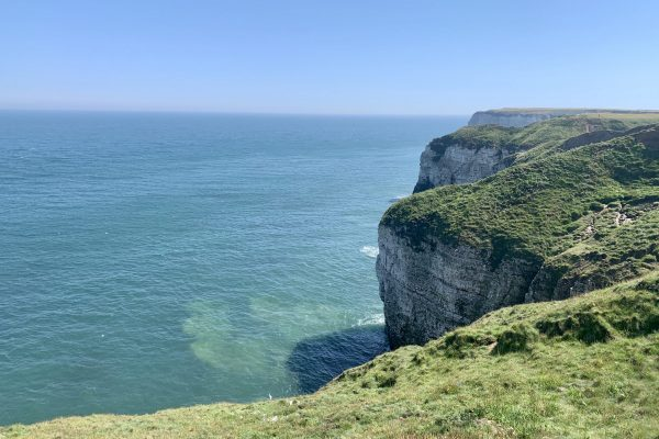 Flamborough head cliffs looking out onto the seafront in the UK